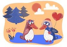 AMOUR Valentine Day Cartoon Animal Set d'OISEAU illustration de vecteur
