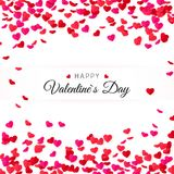 Amour Valentines day greeting card. Hearts confetti and label for text. Vector illustration.  Royalty Free Stock Images