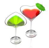 Amour vert cocktails et rouge Photos stock