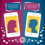 Amour virtuel de couples parlant utilisant le téléphone portable Image stock