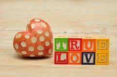 Amour vrai écrit avec les blocs colorés d'alphabet Photographie stock libre de droits