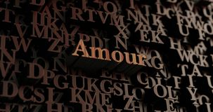Amour - Wooden 3D rendered letters/message Stock Photo