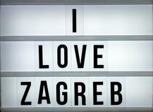 Amour Zagreb du caisson lumineux i Photo stock