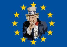 Uncle Sam symbolically pointing to China's trade threat. Concept of protectionism and world economic war with the portrait of Uncle Sam in front of the royalty free illustration