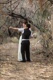 Amoureux dansant en bois Photos libres de droits