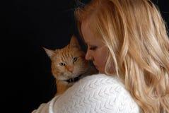 Amoureux de chat Images libres de droits