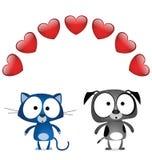 Amoureux de valentine de crabot de chat illustration de vecteur