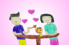 Amoureux - dessin avec les crayons colorés Photos stock