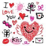 Amoureux je t'aime Valentine Heart Cute Cartoon Vector illustration libre de droits