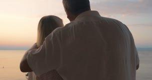 Amoureux mûrs appréciant la vue et le vin de mer banque de vidéos