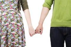 Amoureux retenant des mains Images libres de droits