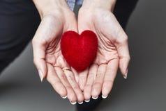 Amoureux rouge chez les mains de la femme photographie stock libre de droits