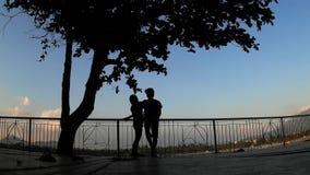Amoureux se penchant sur des balustrades sous des silhouettes d'arbre clips vidéos