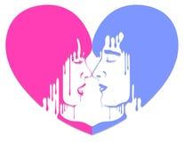 amoureux Silhouette d'un homme et d'une femme face à face illustration de vecteur