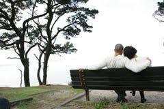 Amoureux sur le banc Image stock