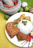 Amous traditional Malay Food. Close up an image of the famous traditional Malay Food Delicious 'Ayam Penyet' with 'Sambal Belacan' and 'Tempe'- local flavor stock photo
