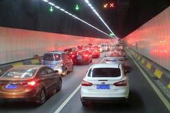amoy海底的隧道的交通堵塞 库存图片