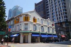 Amoy街街道视图在新加坡 免版税库存照片