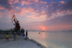 Amoy aquatic products wharf sunset Royalty Free Stock Photography