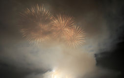 Amoy city play fireworks. Chinese new year's night, the amoy city of mainland and kinmen county of taiwan agree to play fireworks to celebrate the new year Royalty Free Stock Photography