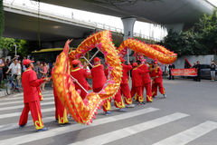 Amoy taoist association show dragon dance to welcome macao taoist association Royalty Free Stock Images