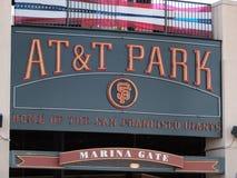 AT&T parken nach Hause vom Giants - Zeichen Lizenzfreies Stockfoto
