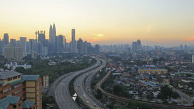 Ampang Kuala Lumpur Elevated Highway AKLEH with City Skyline in Malaysia at Sunset Blue Hour Timelapse. 1920x1080 stock video footage