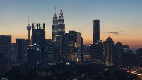 Ampang Kuala Lumpur Elevated Highway AKLEH with City Skyline in Malaysia at Sunset Blue Timelapse. Ampang Kuala Lumpur Elevated Highway AKLEH with City Skyline stock video