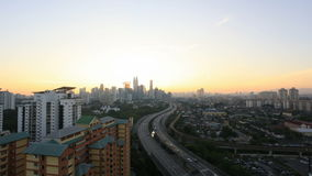 Ampang Kuala Lumpur Elevated Highway AKLEH with City Skyline in Malaysia at Sunset Twilight Timelapse 1080p Stock Photography