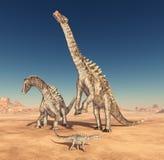 Ampelosaurus de dinosaure dans le désert illustration libre de droits