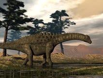 Ampelosaurus dinosaur - 3D render. Ampelosaurus dinosaur walking among pine trees - 3D render stock illustration