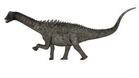 Ampelosaurus dinosaur - 3D render. Ampelosaurus dinosaur walking isolated in white background - 3D render stock illustration