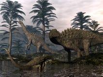 Ampelosaurus dinosaurs family - 3D render. Ampelosaurus dinosaurs family walking among cordaites trees - 3D render stock illustration