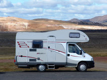 Ð¡amper. Kemper (the house on wheels), travelling across Iceland royalty free stock image
