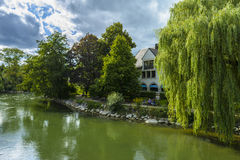 Amper river side in Furstenfeldbruck, Germany Royalty Free Stock Image