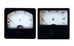 Amperemeter und Voltmeter stockfotos