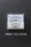 Ampermeter. With High Voltage letter on on metallic color background royalty free stock images