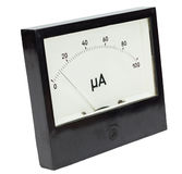 Ampermeter isolated in white background. Black square analog ampermeter isolated on white background with 10 uA reading on scale royalty free stock photography