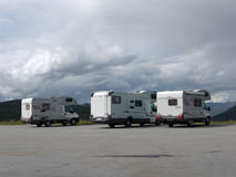 Campers. Kemper (the house on wheels), travelling Norway. In the Parking lot stock photos