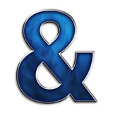 Ampersand. & symbol in steel smokey blue isolated on white Stock Photo
