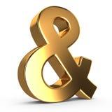 ampersand 3d dourado Fotos de Stock Royalty Free