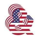 Ampersand da letra do ABC da bandeira 3d dos EUA Fonte Textured Fotografia de Stock