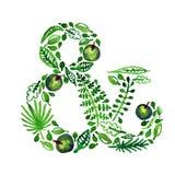 Ampersand do verde do vetor da natureza da aquarela com folhas, maçãs e outras plantas (verde) ilustração stock