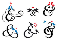 Ampersand sign with birds, vector set Stock Images