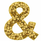 Ampersand sign composed of golden Stock Image