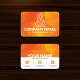 Ampersand sign icon. Logical operator AND. Business or visiting card template. Ampersand sign icon. Programming logical operator AND. Wedding invitation symbol Royalty Free Stock Images