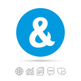 Ampersand sign icon. Logical operator AND. Ampersand sign icon. Programming logical operator AND. Wedding invitation symbol. Copy files, chat speech bubble and Royalty Free Stock Images