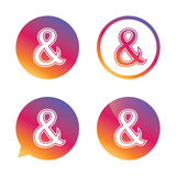 Ampersand sign icon. Logical operator AND. Ampersand sign icon. Programming logical operator AND. Wedding invitation symbol. Gradient buttons with flat icon Stock Photo