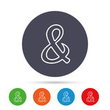 Ampersand sign icon. Logical operator AND. Ampersand sign icon. Programming logical operator AND. Wedding invitation symbol. Round colourful buttons with flat Stock Photography