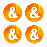 Ampersand sign icon. Logical operator AND. Ampersand sign icon. Programming logical operator AND. Wedding invitation symbol. Triangular low poly buttons with Royalty Free Stock Image